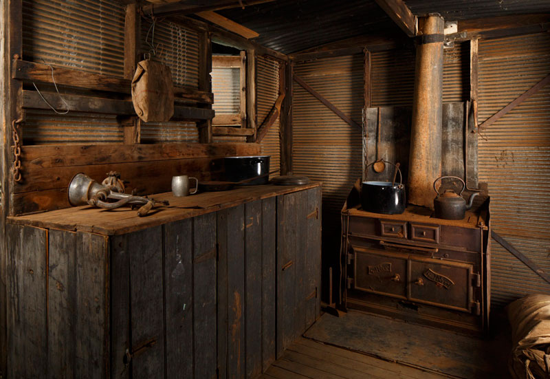 Interior of the chaff-cutting team's cook's gallery, with the wooden stove at the end. Photo by Jason McCarthy, National Museum of Australia.