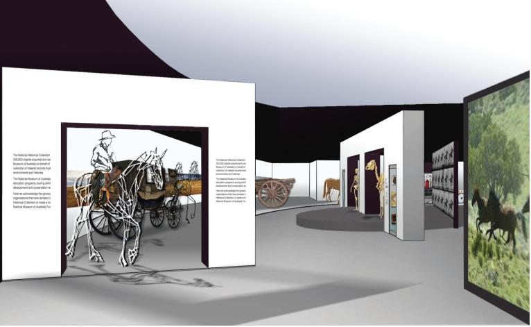 Concept design for Horses in Australia exhibition. National Museum of Australia.