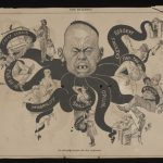 A black and white newspaper cartoon. The image shows the head of a person depicted as an octopus with eight tentacles. Each tentacle is holding a person or object with text written on each tentacle. The date in the right corner is, 'AUGUST 21,1886', it is cut from 'THE BULLETIN', newspaper. The heading of the cartoon is, 'The Mongolian Octopus.- His Grip on Australia.'.