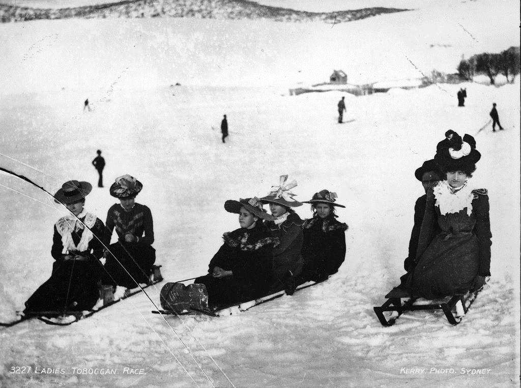 Ladies Toboggan Race. By Charles Kerry. From Wikimedia Commons.