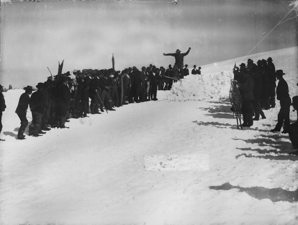 Fritz Weselman breaking a snow jumping record, 1900. Tyrrell Photographic Collection, Powerhouse Museum. Gift of Australian Consolidated Press under the Taxation Incentives for the Arts Scheme, 1985