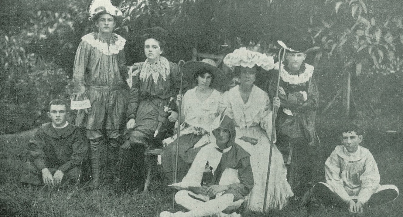 Photo of performers in costume for the Townsville Grammar School production of 'As You Like It', 1904.
